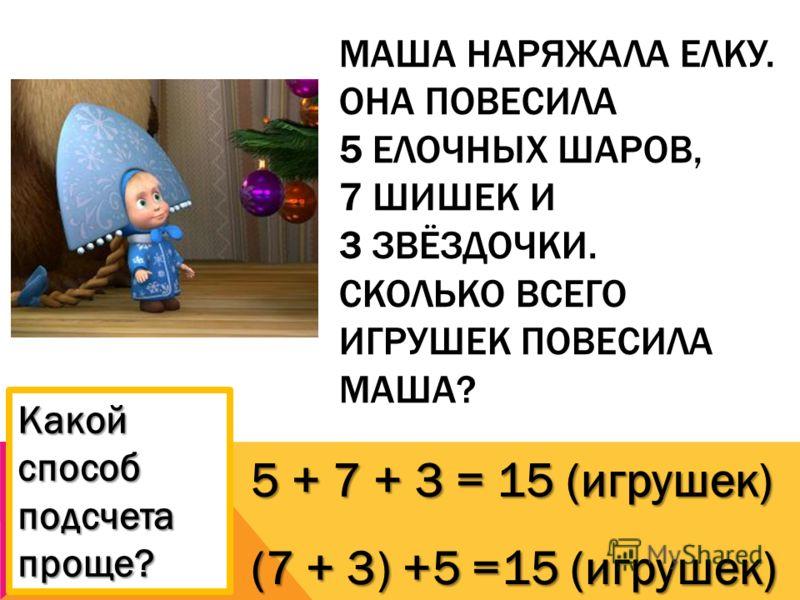 МАША НАРЯЖАЛА ЕЛКУ. ОНА ПОВЕСИЛА 5 ЕЛОЧНЫХ ШАРОВ, 7 ШИШЕК И 3 ЗВЁЗДОЧКИ. СКОЛЬКО ВСЕГО ИГРУШЕК ПОВЕСИЛА МАША? 5 + 7 + 3 = 15 (игрушек) (7 + 3) +5 =15 (игрушек) Какой способ подсчета проще?