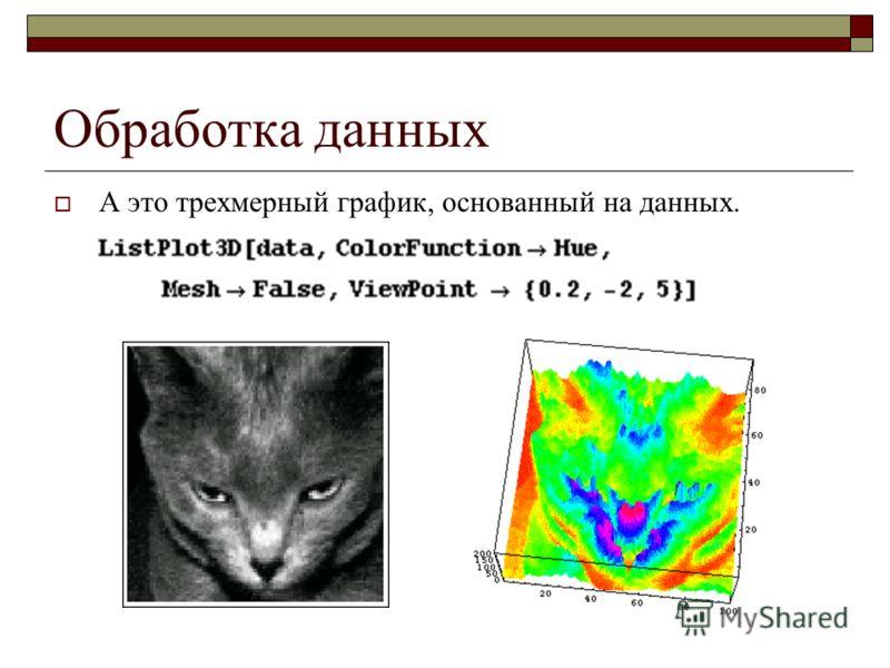 Обработка данных А это трехмерный график, основанный на данных.