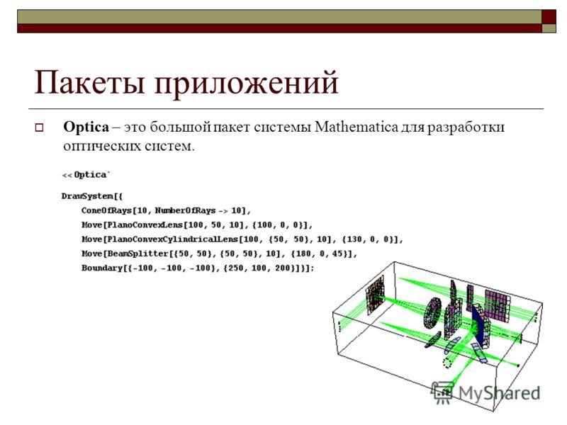 Пакеты приложений Optica – это большой пакет системы Mathematica для разработки оптических систем.