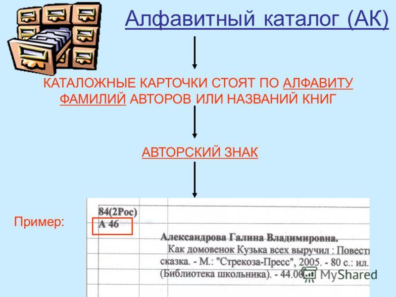 Алфавитный каталог (АК) КАТАЛОЖНЫЕ КАРТОЧКИ СТОЯТ ПО АЛФАВИТУ ФАМИЛИЙ АВТОРОВ ИЛИ НАЗВАНИЙ КНИГ АВТОРСКИЙ ЗНАК Пример: