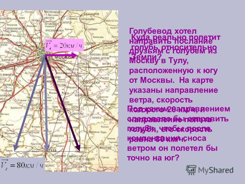 Голубевод хотел направить послание друзьям с голубем из Москву в Тулу, расположенную к югу от Москвы. На карте указаны направление ветра, скорость которого 20 км/ч, и направление полета голубя, его скорость равна 80 км/ч. Куда реально полетит голубь