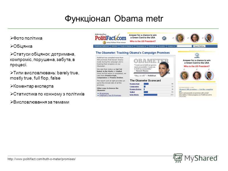 Функціонал Obama metr http://www.politifact.com/truth-o-meter/promises/ Фото політика Обіцянка Статуси обіцянок: дотримана, компроміс, порушена, забута, в процесі. Типи висловлювань: barely true, mostly true, full flop, false Коментар експерта Статис