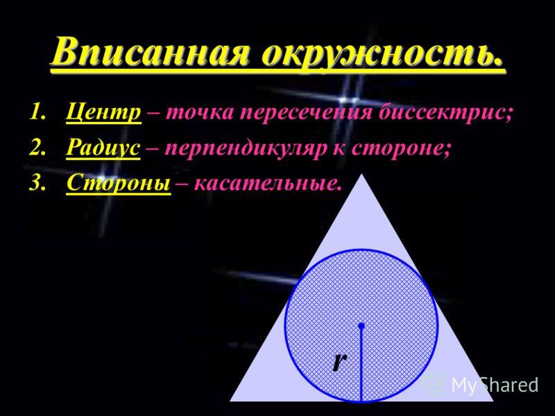 Вписанная окружность. 1.Центр – точка пересечения биссектрис; 2.Радиус – перпендикуляр к стороне; 3.Стороны – касательные. r