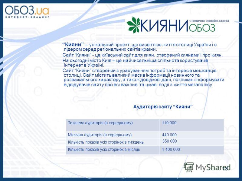 13 Кияни – унікальний проект, що висвітлює життя столиці України і є лідером серед регіональних сайтів країни. Сайт Кияни - це київський сайт для киян, створений киянами і про киян. На сьогодні місто Київ – це найчисельніша спільнота користувачів Інт