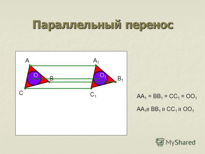 Параллельный перенос B C AA1A1 B1B1 O C1C1 O1O1 AA 1 = BB 1 = CC 1 = OO 1 AA 1 װ BB 1 װ CC 1 װ OO 1