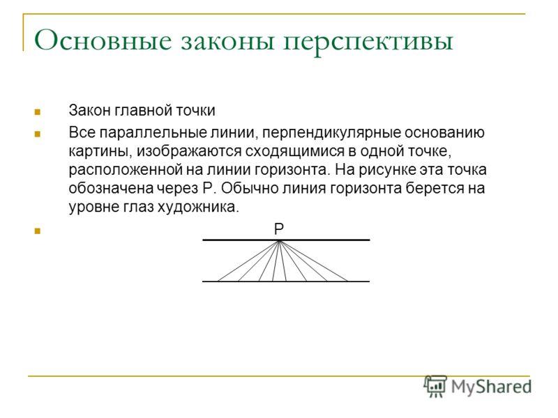 Основные законы перспективы Закон главной точки Все параллельные линии, перпендикулярные основанию картины, изображаются сходящимися в одной точке, расположенной на линии горизонта. На рисунке эта точка обозначена через P. Обычно линия горизонта бере