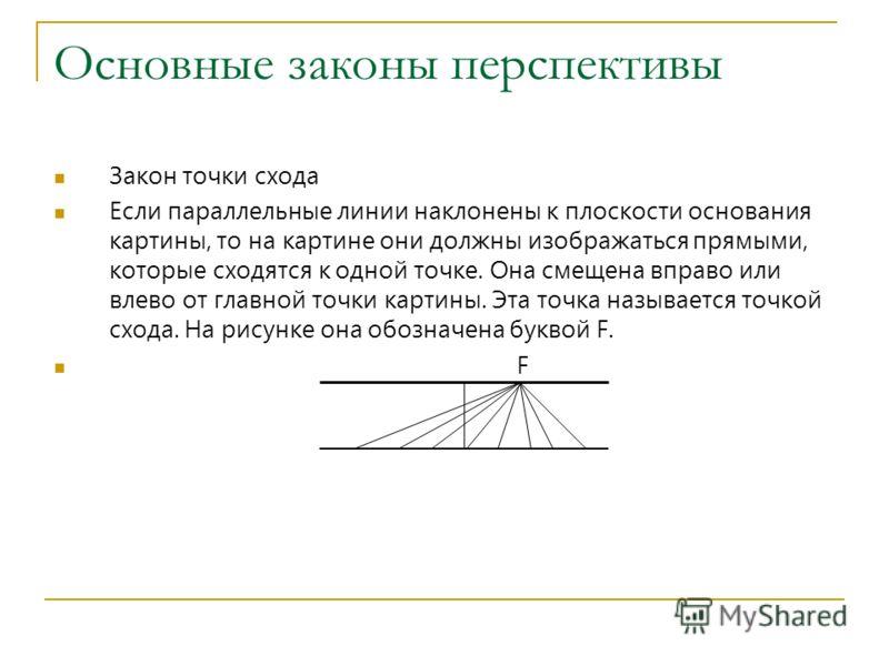 Основные законы перспективы Закон точки схода Если параллельные линии наклонены к плоскости основания картины, то на картине они должны изображаться прямыми, которые сходятся к одной точке. Она смещена вправо или влево от главной точки картины. Эта т