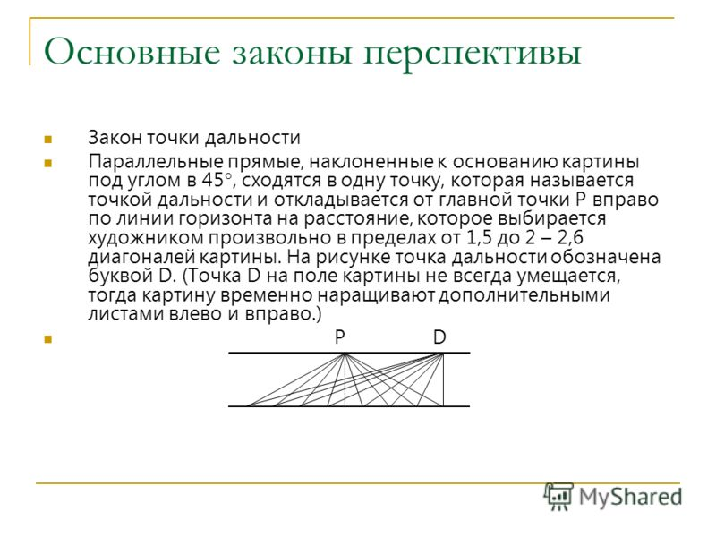 Основные законы перспективы Закон точки дальности Параллельные прямые, наклоненные к основанию картины под углом в 45, сходятся в одну точку, которая называется точкой дальности и откладывается от главной точки P вправо по линии горизонта на расстоян