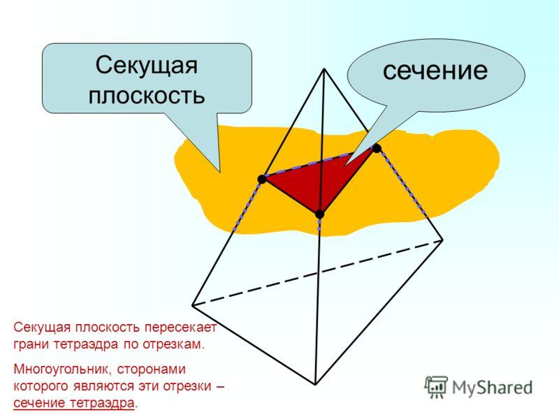 Секущая плоскость сечение Секущая плоскость пересекает грани тетраэдра по отрезкам. Многоугольник, сторонами которого являются эти отрезки – сечение тетраэдра.