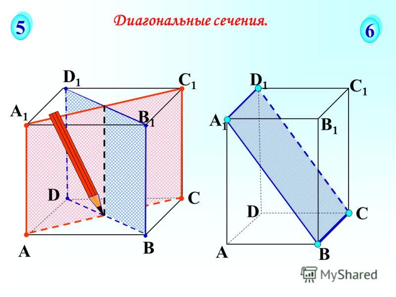 А В С D А1А1 D1D1 С1С1 B1B1 Диагональные сечения. 5 5 6 6 А В С D А1А1 D1D1 С1С1 B1B1