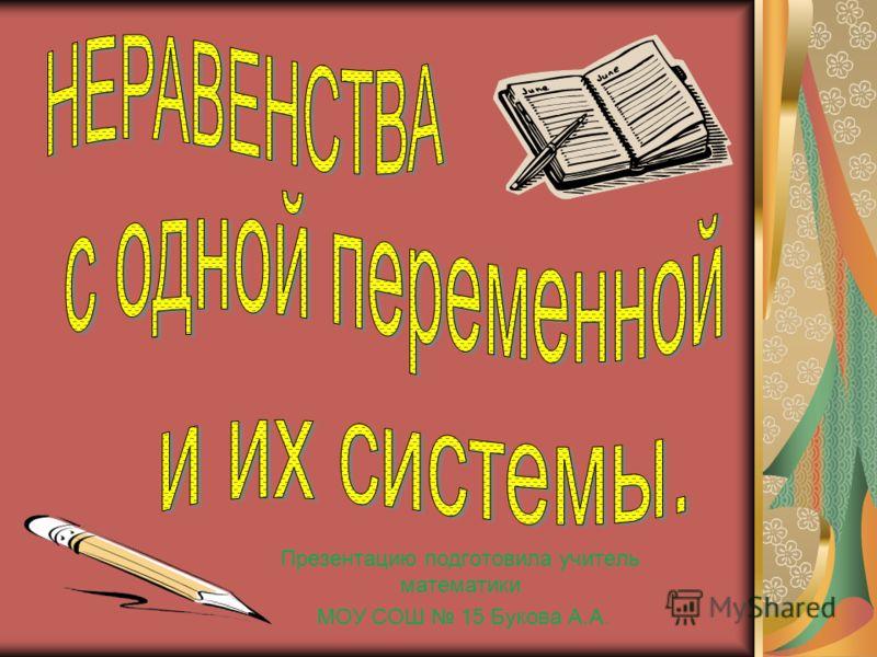 Презентацию подготовила учитель математики МОУ СОШ 15 Букова А.А.