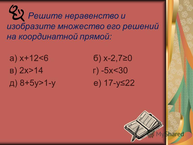Решите неравенство и изобразите множество его решений на координатной прямой: а) х+1214 г) -5х1-у е) 17-у22