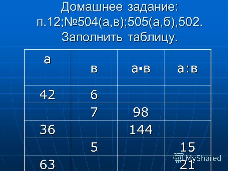 Домашнее задание: п.12;504(а,в);505(а,б),502. Заполнить таблицу. авава:в 426 798 36144 515 6321