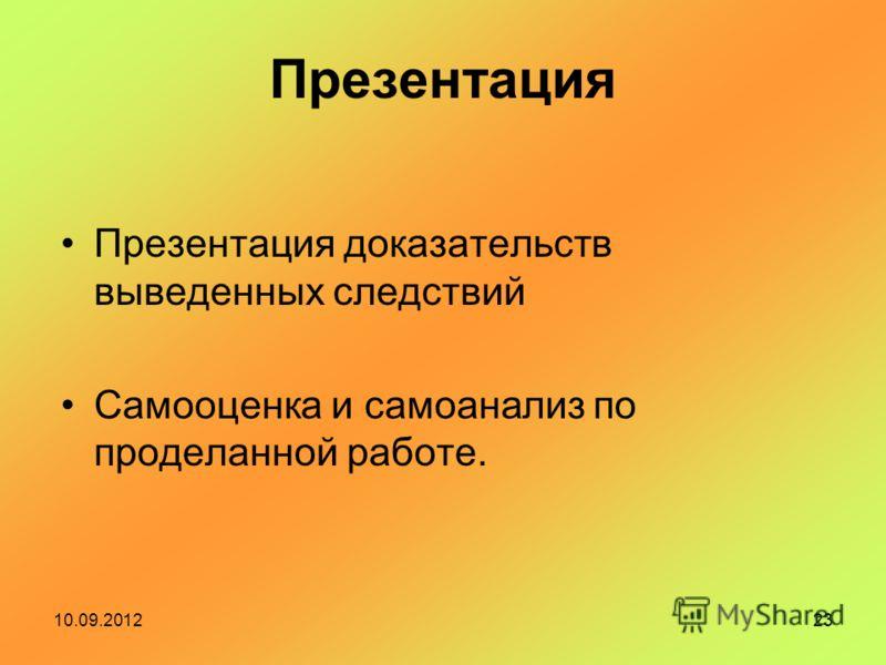 10.09.201223 Презентация Презентация доказательств выведенных следствий Самооценка и самоанализ по проделанной работе.