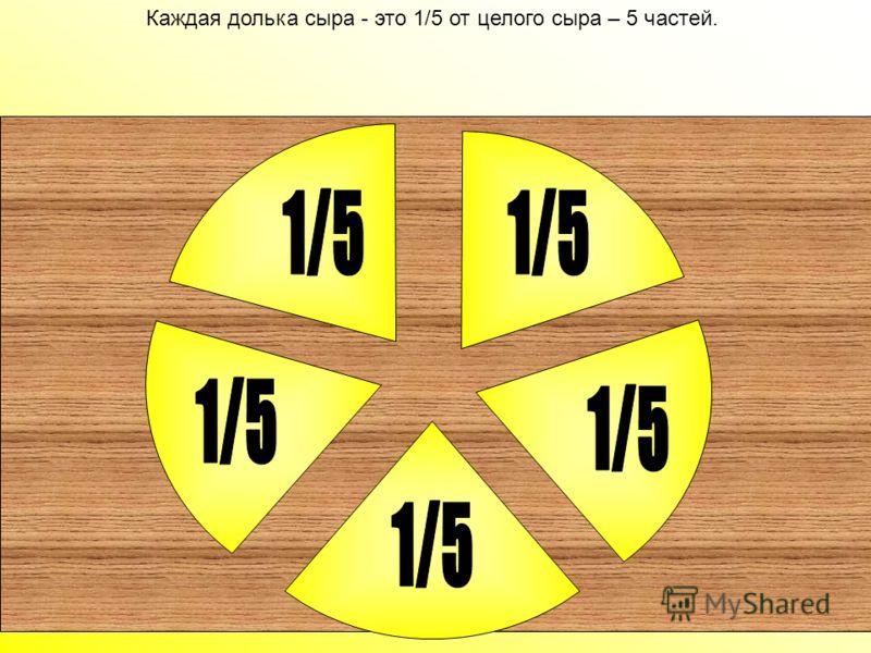 А что было бы если бы мышки разделили сыр не на четыре части, а, например, на пять частей. Давай посмотрим. А что было бы если бы мышки разделили сыр не на четыре части, а, например, на пять частей. Давай посмотрим.