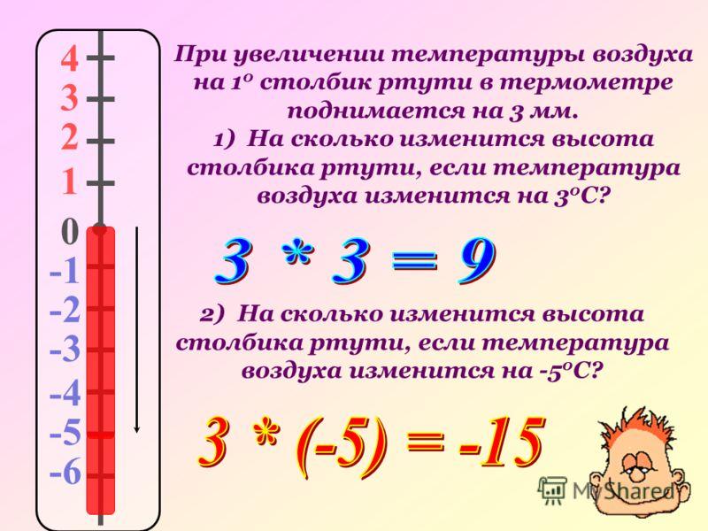 При увеличении температуры воздуха на 1 0 столбик ртути в термометре поднимается на 3 мм. 1) На сколько изменится высота столбика ртути, если температура воздуха изменится на 3 0 С? 4 3 2 1 0 -2 -3 -4 -5 -6 2) На сколько изменится высота столбика рту