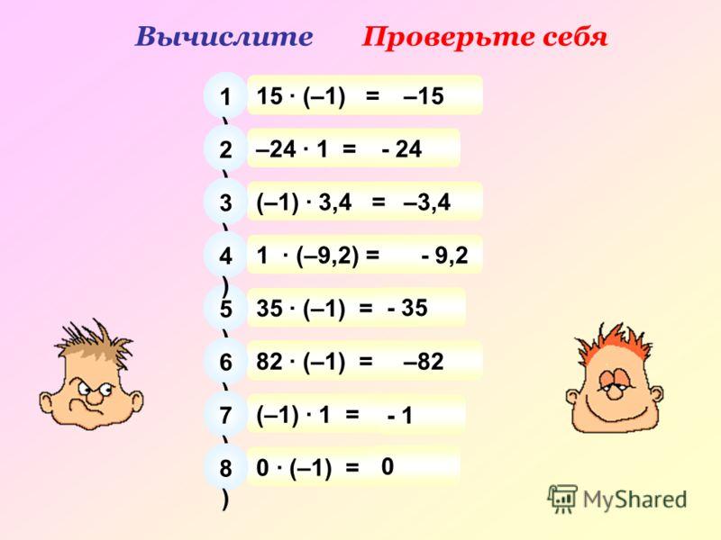 ВычислитеПроверьте себя 15 · (–1) = 1)1) –15 –24 · 1 = 2)2) - 24 (–1) · 3,4 = 3)3) –3,4 35 · (–1) = 5)5) - 35 82 · (–1) = 6)6) –82 (–1) · 1 = 7)7) - 1 0 · (–1) = 8)8) 0 4)4) - 9,21 · (–9,2) =