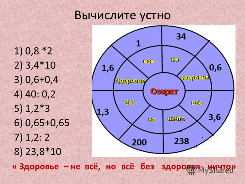 Вычислите устно 1) 0,8 *2 2) 3,4*10 3) 0,6+0,4 4) 40: 0,2 5) 1,2*3 6) 0,65+0,65 7) 1,2: 2 8) 23,8*10 « Здоровье– невсё,новсёбезздоровья-ничто»