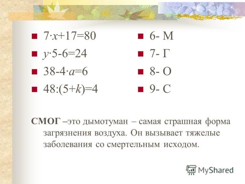 7·х+17=80 у·5-6=24 38-4·а=6 48:(5+k)=4 6- M 7- Г 8- О 9- С СМОГ –это дымотуман – самая страшная форма загрязнения воздуха. Он вызывает тяжелые заболевания со смертельным исходом.