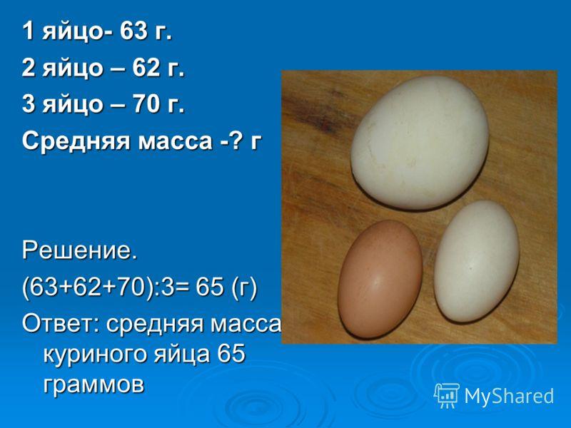1 яйцо- 63 г. 2 яйцо – 62 г. 3 яйцо – 70 г. Средняя масса -? г Решение. (63+62+70):3= 65 (г) Ответ: средняя масса куриного яйца 65 граммов