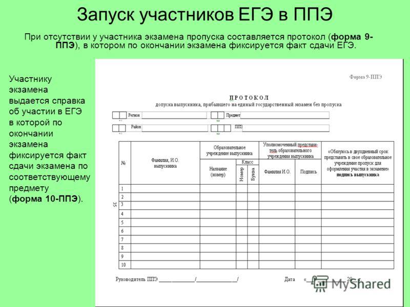 Запуск участников ЕГЭ в ППЭ Участнику экзамена выдается справка об участии в ЕГЭ в которой по окончании экзамена фиксируется факт сдачи экзамена по соответствующему предмету (форма 10-ППЭ). При отсутствии у участника экзамена пропуска составляется пр