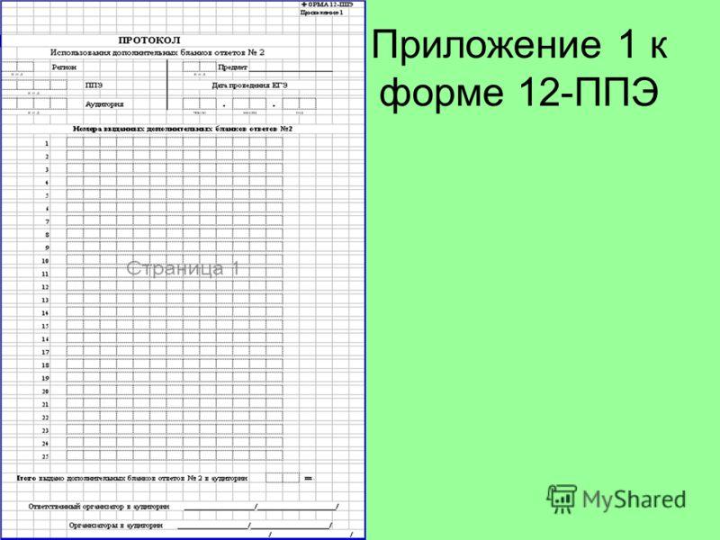 Приложение 1 к форме 12-ППЭ