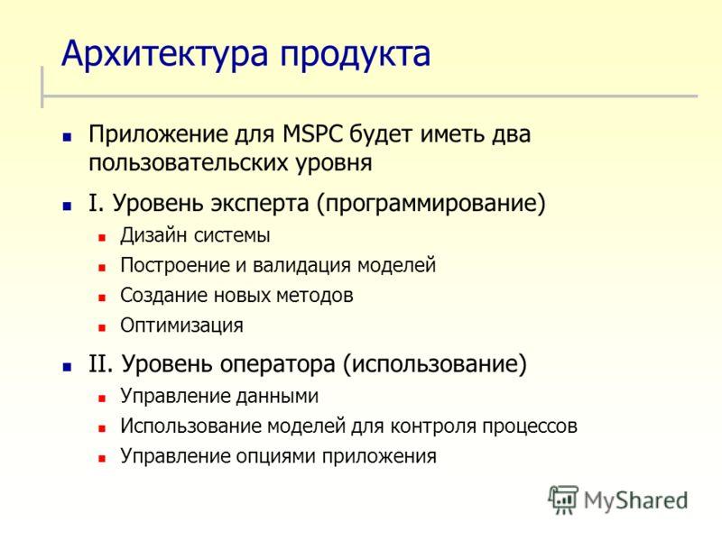 Архитектура продукта Приложение для MSPC будет иметь два пользовательских уровня I. Уровень эксперта (программирование) Дизайн системы Построение и валидация моделей Создание новых методов Оптимизация II. Уровень оператора (использование) Управление
