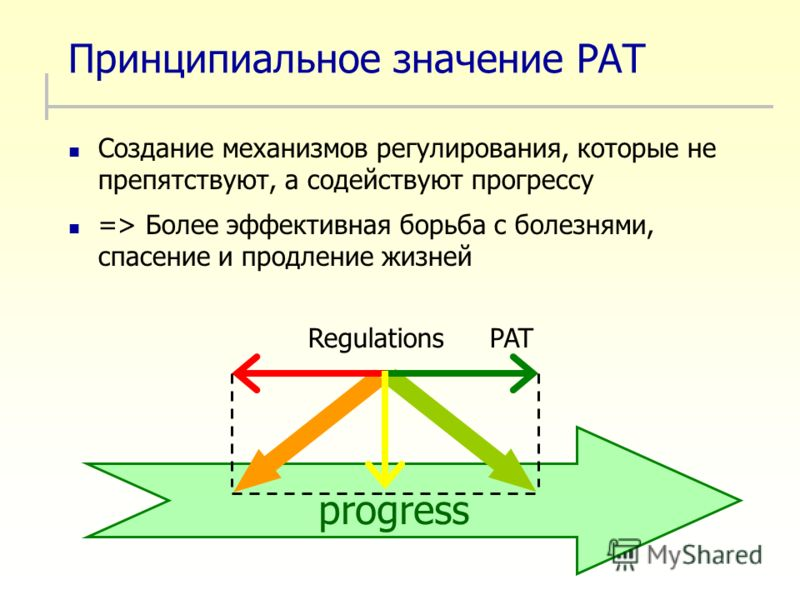 Принципиальное значение PAT Создание механизмов регулирования, которые не препятствуют, а содействуют прогрессу => Более эффективная борьба с болезнями, спасение и продление жизней progress PATRegulations