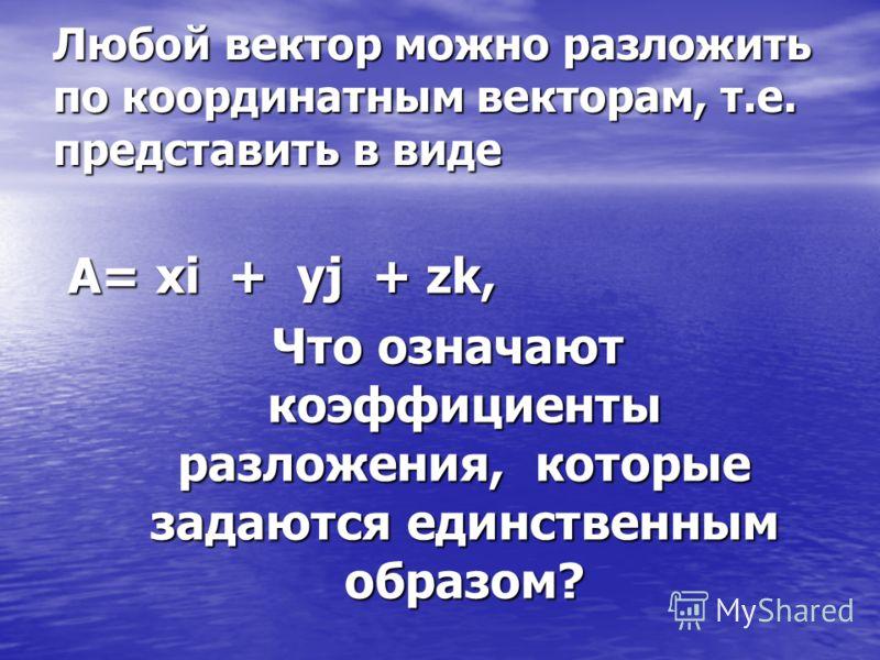 Любой вектор можно разложить по координатным векторам, т.е. представить в виде А= хi + уj + zk, Что означают коэффициенты разложения, которые задаются единственным образом?