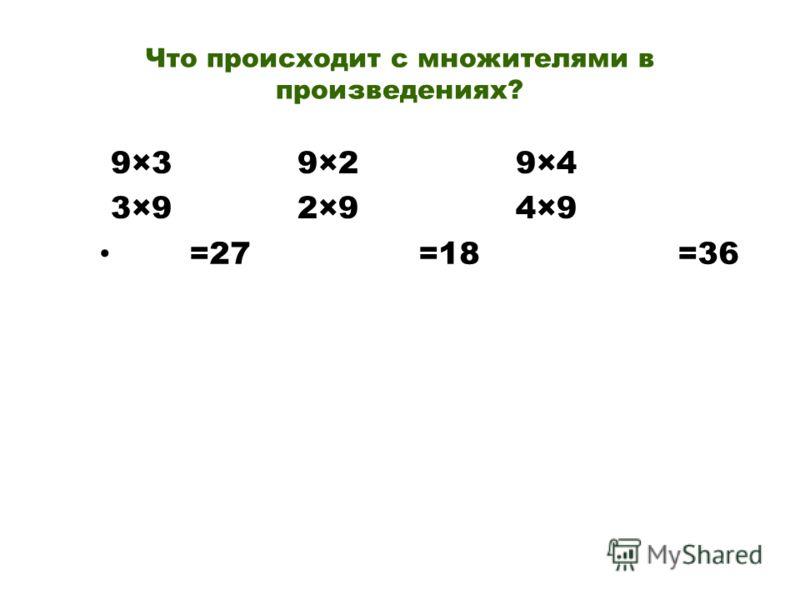 Что происходит с множителями в произведениях? 9×3 9×2 9×4 3×9 2×9 4×9 =27 =18 =36