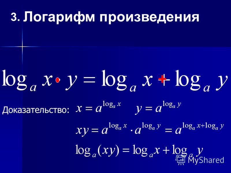 3. Логарифм произведения + Доказательство: