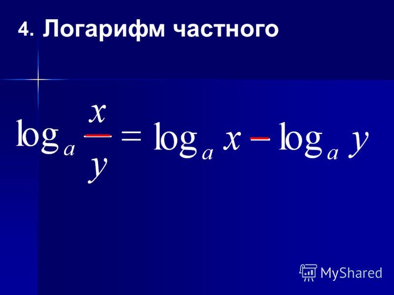 4. Логарифм частного