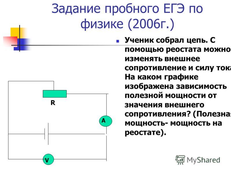 Задание пробного ЕГЭ по физике (2006г.) Ученик собрал цепь. С помощью реостата можно изменять внешнее сопротивление и силу тока. На каком графике изображена зависимость полезной мощности от значения внешнего сопротивления? (Полезная мощность- мощност