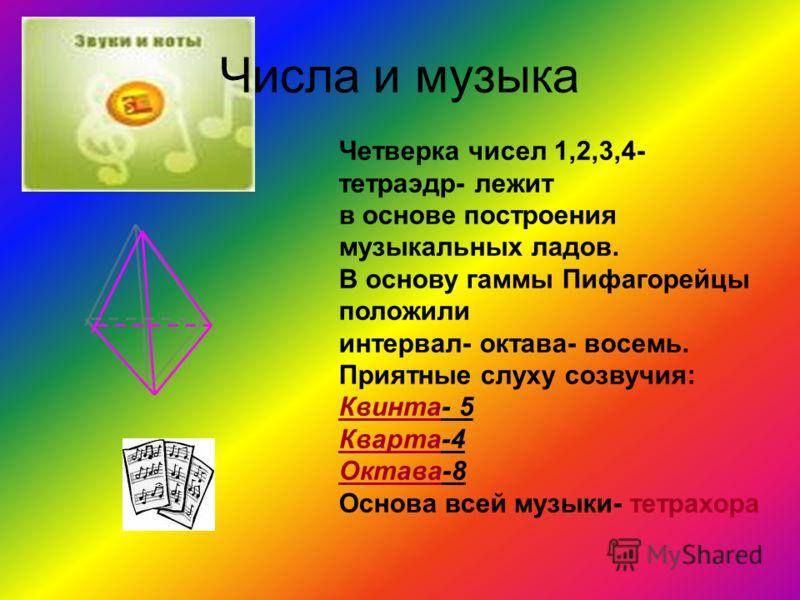 Числа и музыка Четверка чисел 1,2,3,4- тетраэдр- лежит в основе построения музыкальных ладов. В основу гаммы Пифагорейцы положили интервал- октава- восемь. Приятные слуху созвучия: Квинта- 5 Кварта-4 Октава-8 Основа всей музыки- тетрахора