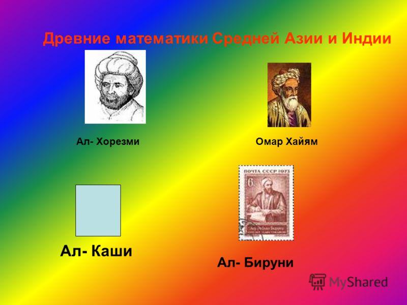 Древние математики Средней Азии и Индии Ал- Каши Ал- ХорезмиОмар Хайям Ал- Бируни