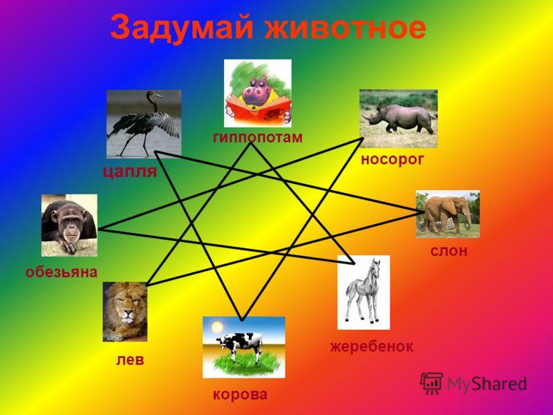 Задумай животное цапля гиппопотам носорог слон жеребенок корова лев обезьяна