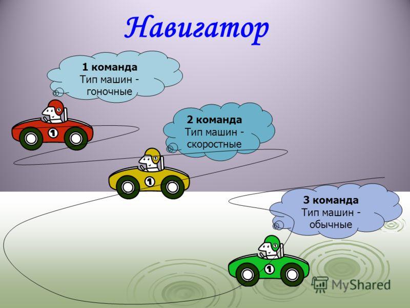 3 команда Тип машин - обычные 1 команда Тип машин - гоночные 2 команда Тип машин - скоростные Навигатор