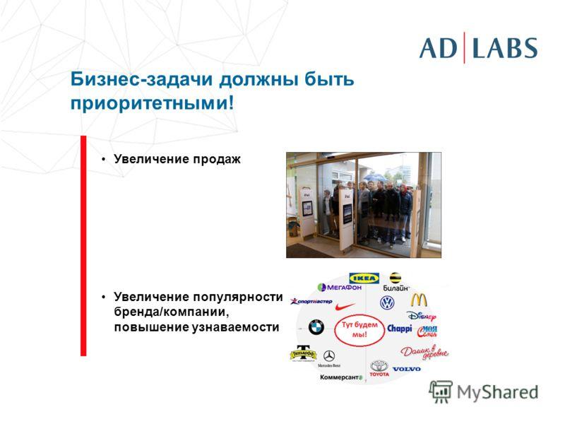 Увеличение продаж Увеличение популярности бренда/компании, повышение узнаваемости Бизнес-задачи должны быть приоритетными!