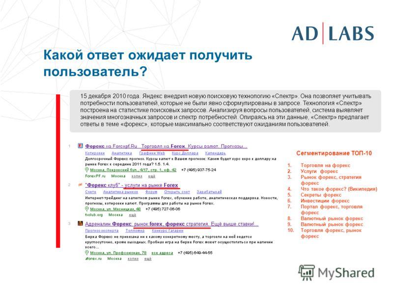 Какой ответ ожидает получить пользователь? 15 декабря 2010 года. Яндекс внедрил новую поисковую технологию «Спектр». Она позволяет учитывать потребности пользователей, которые не были явно сформулированы в запросе. Технология «Спектр» построена на ст