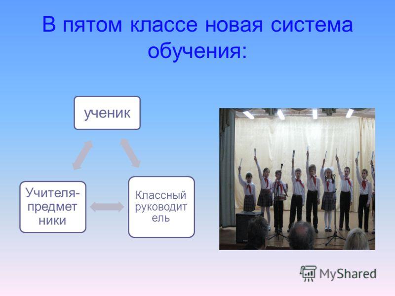 В пятом классе новая система обучения: ученик Классный руководит ель Учителя- предмет ники