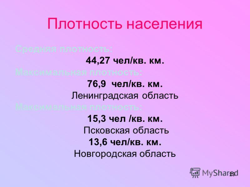29 Плотность населения Средняя плотность: 44,27 чел/кв. км. Максимальная плотность: 76,9 чел/кв. км. Ленинградская область Максимальная плотность: 15,3 чел /кв. км. Псковская область 13,6 чел/кв. км. Новгородская область