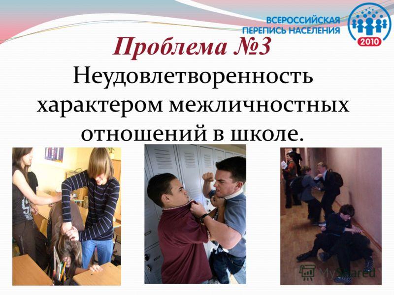 Проблема 3 Неудовлетворенность характером межличностных отношений в школе.