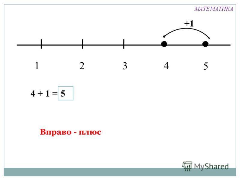 1324 +1 4 + 1 = 5 Вправо - плюс 5 МАТЕМАТИКА