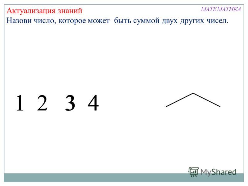 Актуализация знаний Назови число, которое может быть суммой двух других чисел. 1 2 3 4413 МАТЕМАТИКА