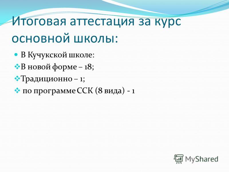 Итоговая аттестация за курс основной школы: В Кучукской школе: В новой форме – 18; Традиционно – 1; по программе ССК (8 вида) - 1