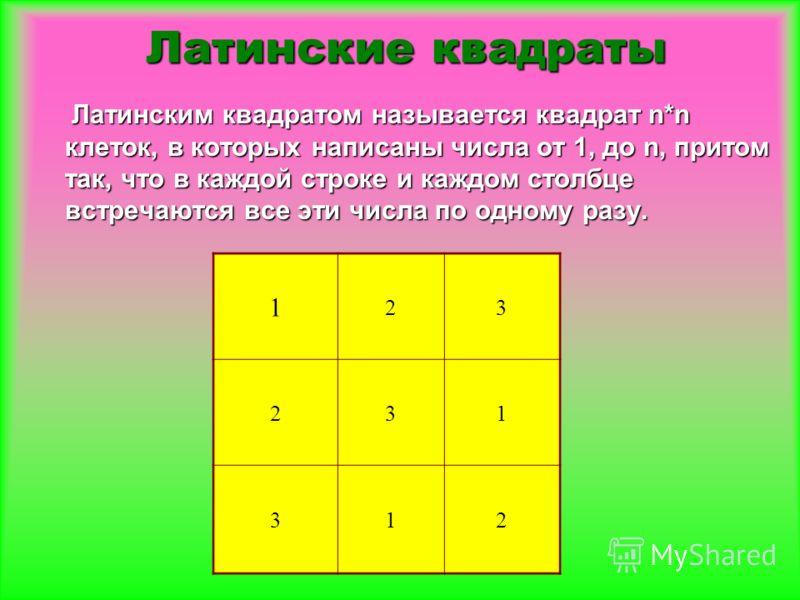 Латинским квадратом называется квадрат n*n клеток, в которых написаны числа от 1, до n, притом так, что в каждой строке и каждом столбце встречаются все эти числа по одному разу. Латинским квадратом называется квадрат n*n клеток, в которых написаны ч