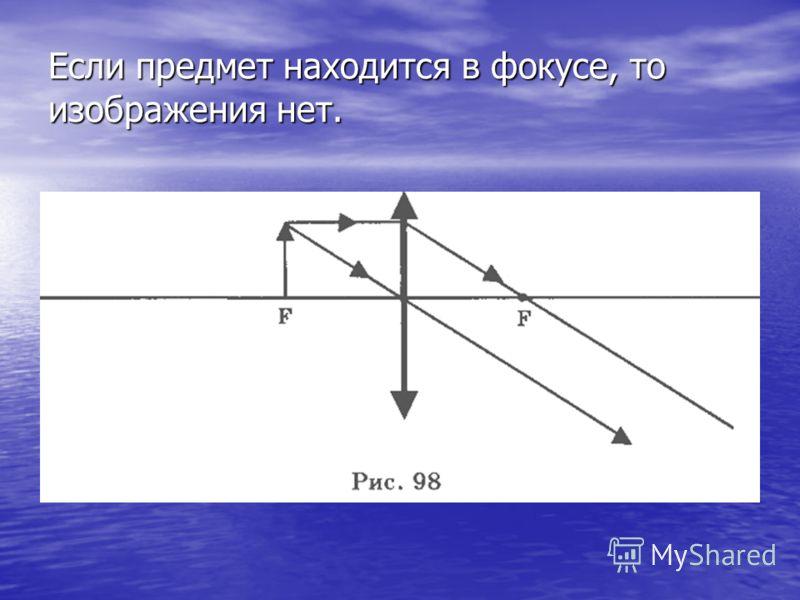 Если предмет находится в фокусе, то изображения нет.