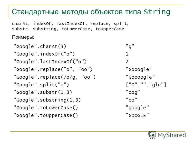 Стандартные методы объектов типа String charAt, indexOf, lastIndexOf, replace, split, substr, substring, toLowerCase, toUpperCase Примеры: