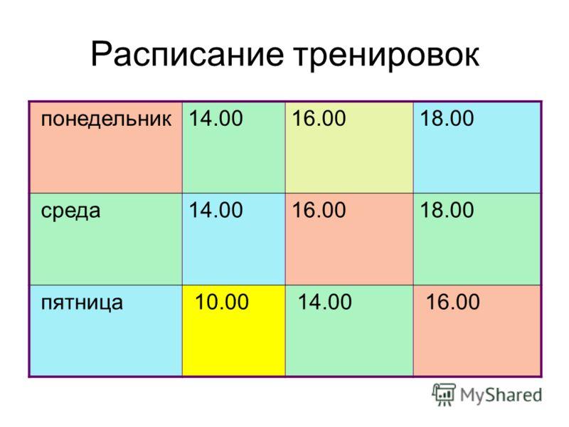 Расписание тренировок понедельник14.0016.0018.00 среда14.0016.0018.00 пятница 10.00 14.00 16.00