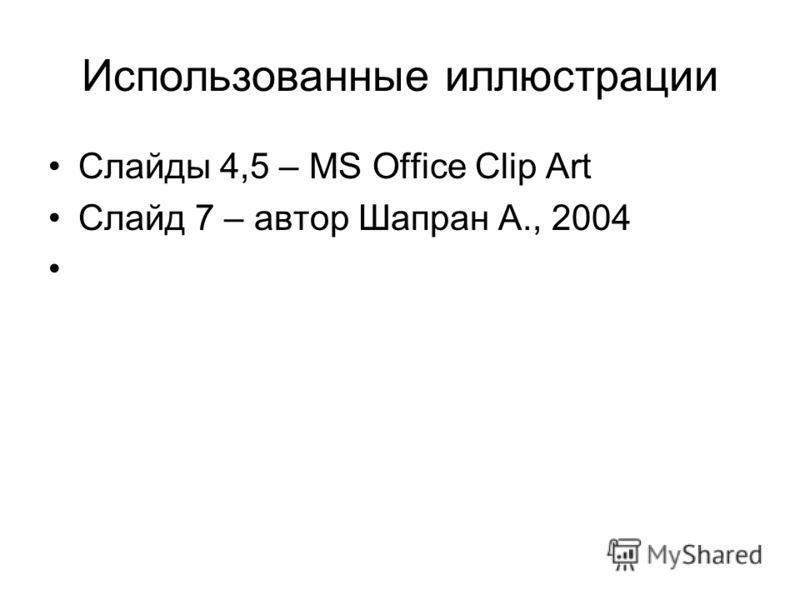 Использованные иллюстрации Слайды 4,5 – MS Office Clip Art Слайд 7 – автор Шапран А., 2004